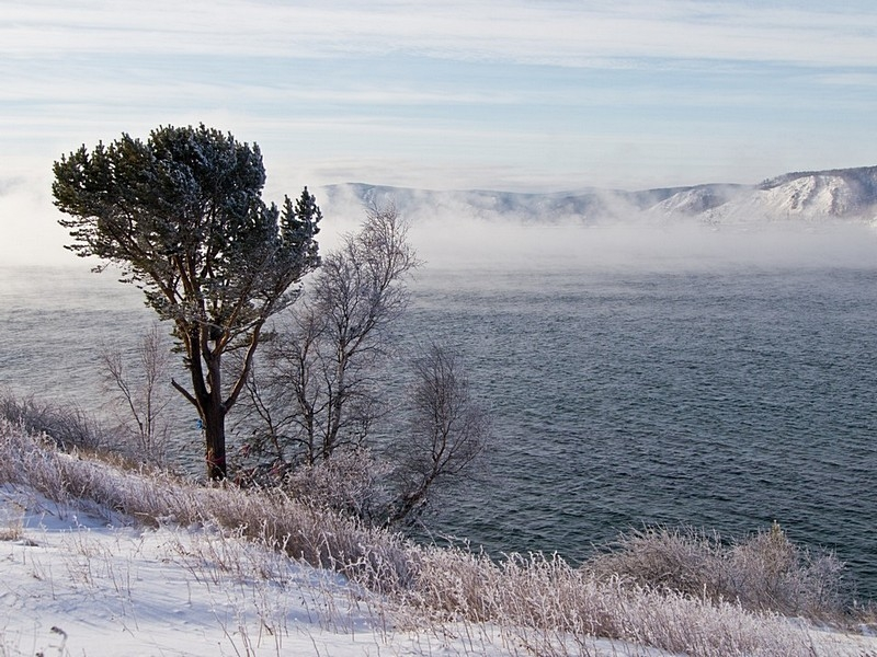 Lake Baikal in frosty weather